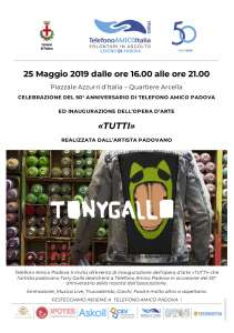 """Locandina inaugurazione opera """"Tutti"""" Tony Gallo di spalle"""