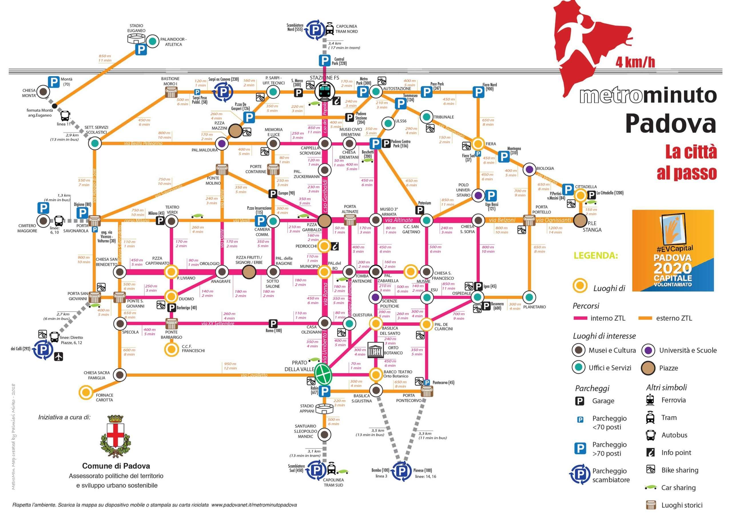 Mappa Metrominuto Padova capitale europea del volontariato 2020