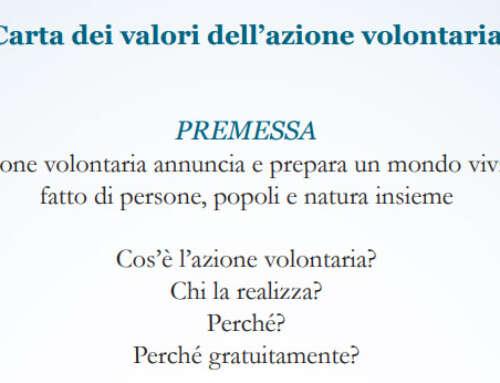 La carta dei valori dell'azione volontaria